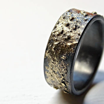 mens wedding band gold silver, viking wedding band, norse wedding ring gold, black gold ring rustic gold fusion ring, unique engagement ring