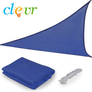 New Premium Clevr Sun Shade Canopy Sail 16.5' Triangle UV Top Outdoor Patio Blue