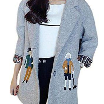 Women's Turn Down Collar Single Breasted Midi Slim Woolen Pea Coat Jacket