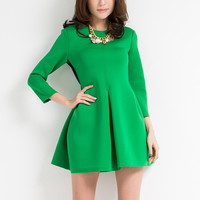 Green Long Sleeve Casual Dress with Back Plaid Details