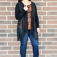 Liberty Wear Women's Hipster Suede Fringe Vest Black and Brown