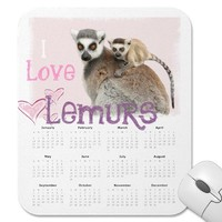 girly i love lemurs calendar 2013 mousepad from Zazzle.com