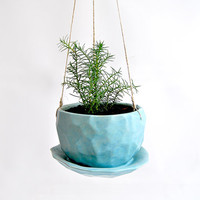Blue Faceted Ceramic Hanging Planter with Drainage Plate. Succulent Hanging Planter. Cactus Hanging Planter, Air Plant Planter.