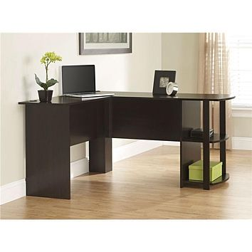 L-Shaped Corner Computer Office Desk in Dark Cherry Finish