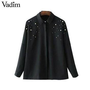Vadim elegant beading pearls black shirts turn-down collar blouse long sleeve female casual office wear tops blusas LT2247