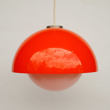 Atomic Ceiling Light / Orange & White Space Age Ceiling Lamp Pendant Lamp / 60's 70's Retro Home Decor