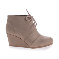 #Rex Lt Taupe by Soda, Lace Up Oxford Ankle Bootie Round Toe High Hidden Wedge Heel Women's Shoe