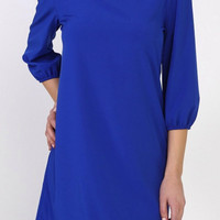 Royal Blue Solid Tunic Dress