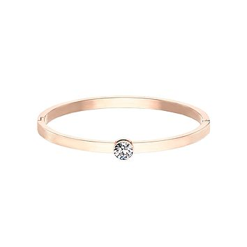 Only You In Rose Gold Bracelet - Bezel Set Round CZ on Stainless Steel IP Hinged Bangle Bracelet