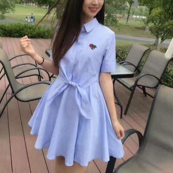 Fashion embroidery flower knot show thin short sleeve dress