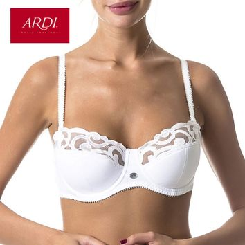 ARDI New Lace Full Coverage Underwire Balconette Women's Bra Demi Soft Cup with Cotton Large Size Big Breast Underwear R2706-18
