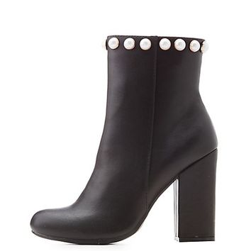 Bamboo Pearl Embellished Booties