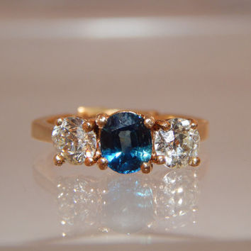 Art Deco Old Cut Diamond & Sapphire Trilogy Wedding Enagement Anniversary Ring 3 Stone Ring 18k Yellow Gold