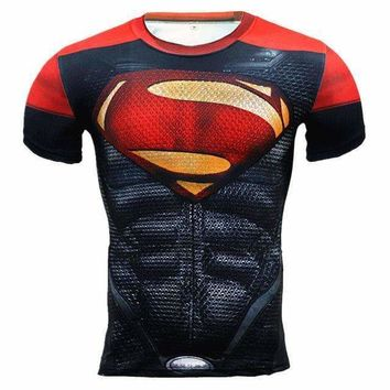 Red Superman Superhero Short Sleeve Compression Rashguard