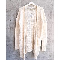 fuzzy popcorn yarn front pocketed open cardigan - ivory