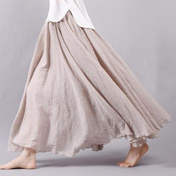 New Fashion Women Boho Vintage Pleated Maxi Skirt 2016 Summer High Waist Casual Cotton Linen Beach Skirts Faldas Saia 12 Colors