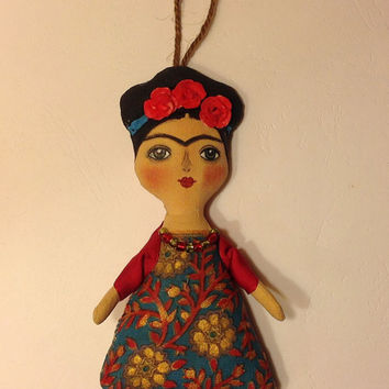 Dolls handcrafted Art doll Frida Fabric doll Diego Rivera Frida Kahlo Frida doll Human figure doll Frida Mexican art doll Mexican painter