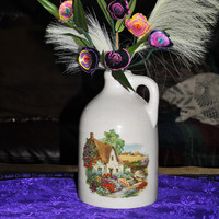 Jug-Vase-Home Decor-Cottage Style-Country-Applique--Ceramic-Up Cycled Pencil Shaving Flowers Arrangement