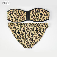 Neoprene Bikini Set Push Up Bikinis Swimwear Print  Beach Bathing Suit