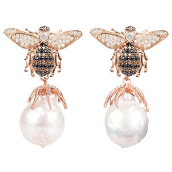 Honey Bee Baroque Pearl Drop Earring Rosegold