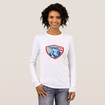 American Patriot Soldier Waving Flag Shield Long Sleeve T-Shirt