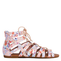 Strappy Gladiator Lace Up Nude Multi Floral Print Sandals