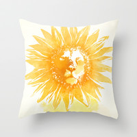 Lion Sunflower Throw Pillow by Iconwalk