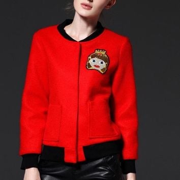 Cat Embroidered Wool Bomber Jacket