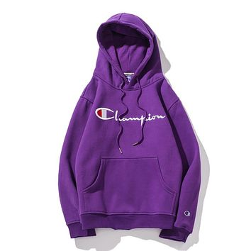 Champion tide brand couple thick casual sports hooded sweater purple
