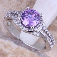 Marvelous Purple Cubic Zirconia White CZ 925 Sterling Silver  Ring For Women Size 5 / 6 / 7 / 8 / 9 / 10  S0447