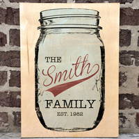 Mason Jar Wall Art, Personalized Wall Art, Custom Wall Art, Family Name Wall Decor, Home Decor, Solid Text