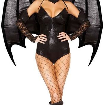 Sexy Maleficent Villainous Fairy Latex and Lace Halloween Costume