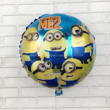 XXPWJ Free shipping air balls Minions balloons Despicable Me balon helium minion party decoration ballon printed  I-069