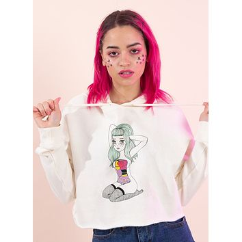 Body Parts Cropped Hoodie