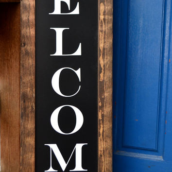 "Rustic Framed Welcome Sign 48x13"", Welcome Sign, Rustic Home Decor, Framed Sign, Rustic Sign"