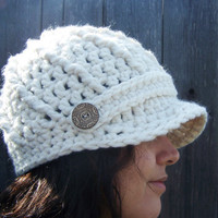 Crochet Newsboy Cap Brimmed Beanie Cream by SoLaynaInspirations