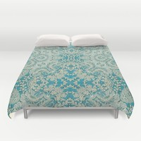 floral lace on blue Duvet Cover by clemm