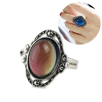 TINKSKY Adjustable Oval Color Changing Mood Ring Finger Ring
