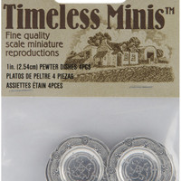 pewter plates timeless miniatures - 4 ct
