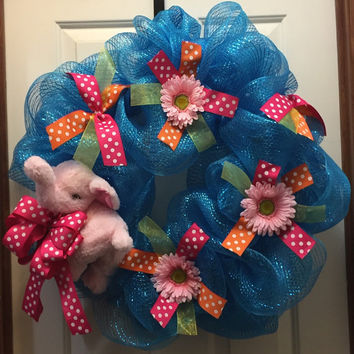 Baby Girl Wreath, Shower Gift Wreath, Front Door Decoration,Welcome Baby Wreath