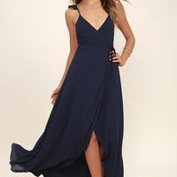 Here's to Us Navy Blue High-Low Wrap Dress