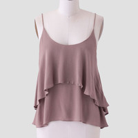 Soleil Tiered Tank In Taupe