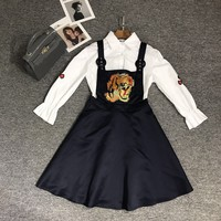 """Gucci"" Women Temperament Fashion Casual Flower Tiger Head Embroidery Long Sleeve Lapel Shirt Back Strap Short Skirt Set Two-Piece"
