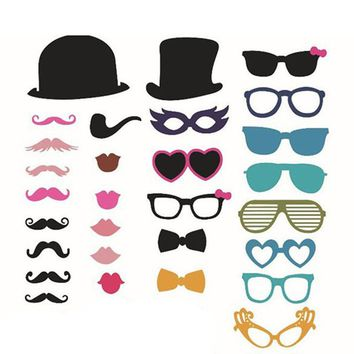 New 36pcs On A Stick Mustache Photo Booth Props Wedding Birthday Party Fun Favor