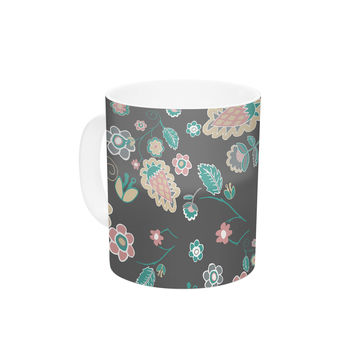 "Nika Martinez ""Cute Winter Floral"" Gray Pastel Ceramic Coffee Mug"