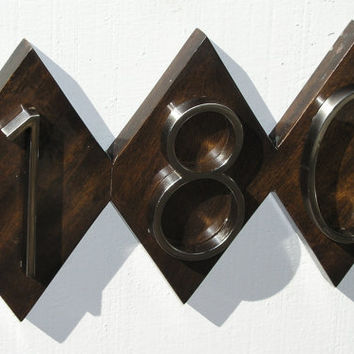 Modern Diamond House Numbers Plaque. Mid Century Address Sign, Free Shipping, Quality Solid Mahogany with Yacht Gloss Finish.