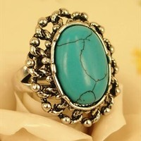 Vintage Style Oval Turquoise Ring Blue OWS654 from topsales
