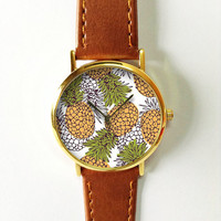 Pineapple Watch  , Vintage Style Leather Watch, Women Watches, Boyfriend Watch, Men's watch, Yellow Green, Freeforme 2015