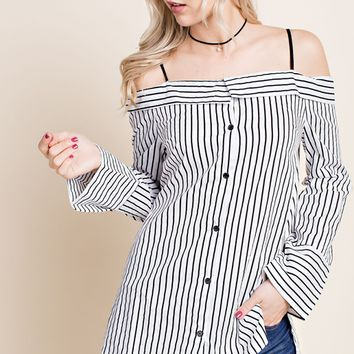 LLove Bow Back Off Shoulder Button Down Shirt - B/W