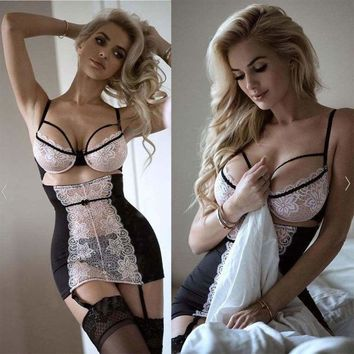 new Sexy-Lingerie Nightwear Underwear G-string Babydoll Women Lace Bra Sleepwear